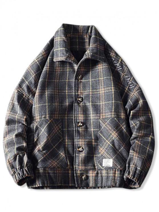 fashion Embroidery Plaid Button Coat - GRAY L