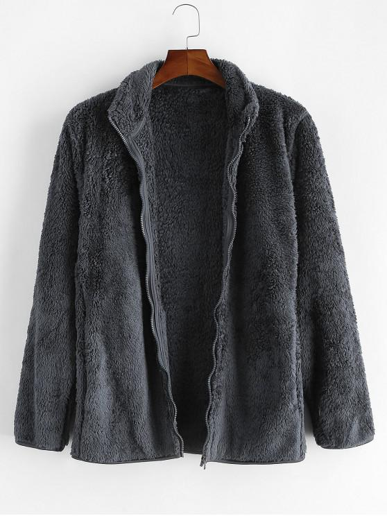 new Solid Faux Fur Fuzzy Zip Up Stand Collar Jacket - CLOUDY GRAY XS