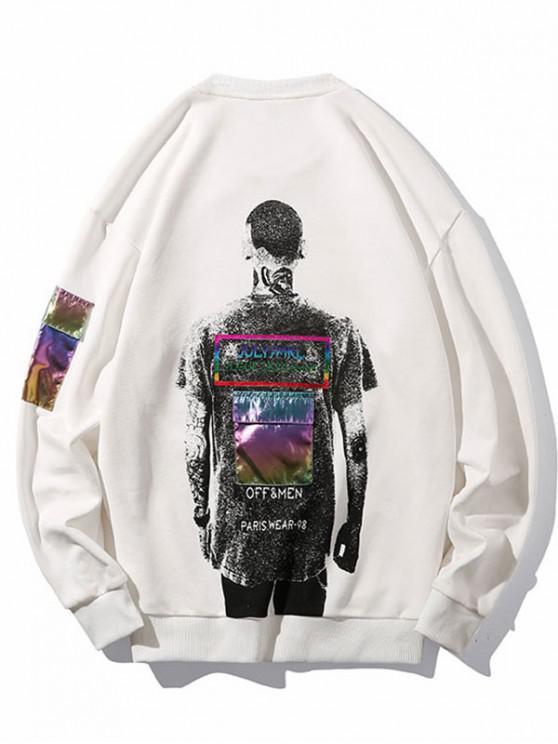 unique Laser Pocket Printed Patched Sweatshirt - WHITE L