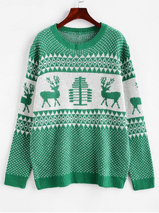 ladies Christmas Intarsia Knit Elk Graphic Jumper Sweater - GREEN L