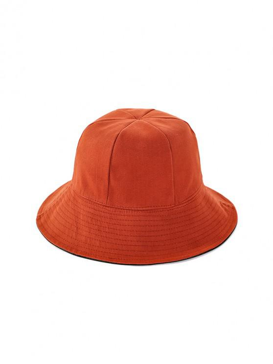 buy Double Faced Solid Floppy Hat - TANGERINE