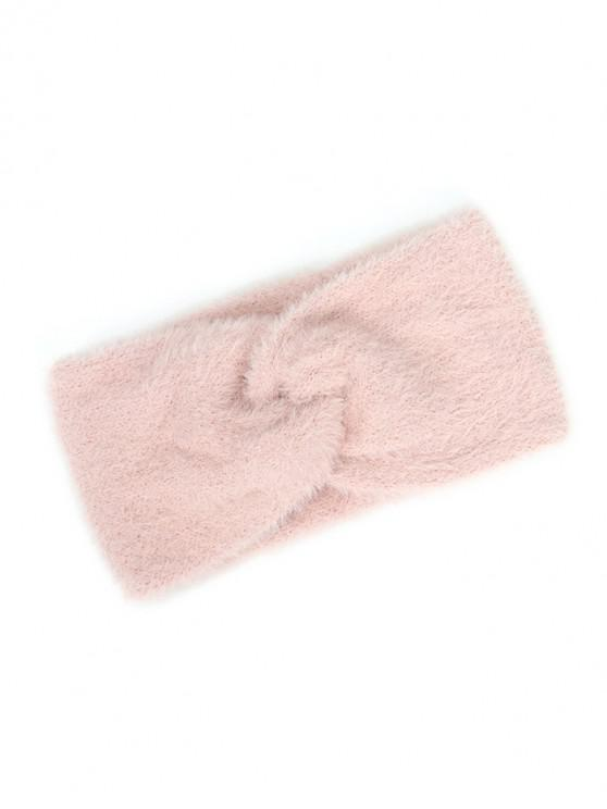 womens Faux Fur Wide Elastic Headband - LIGHT PINK