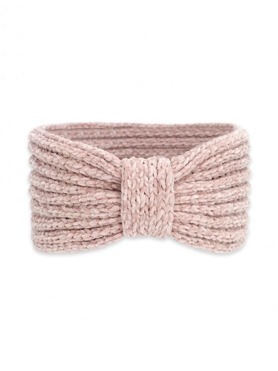 針織蝴蝶結寬頭帶 - 淡粉色