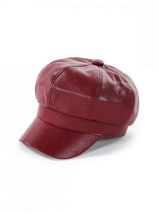 lady Newsboy Solid Leather Octagonal Peaked Hat - RED WINE
