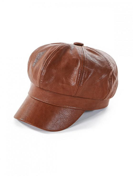 best Newsboy Solid Leather Octagonal Peaked Hat - BROWN
