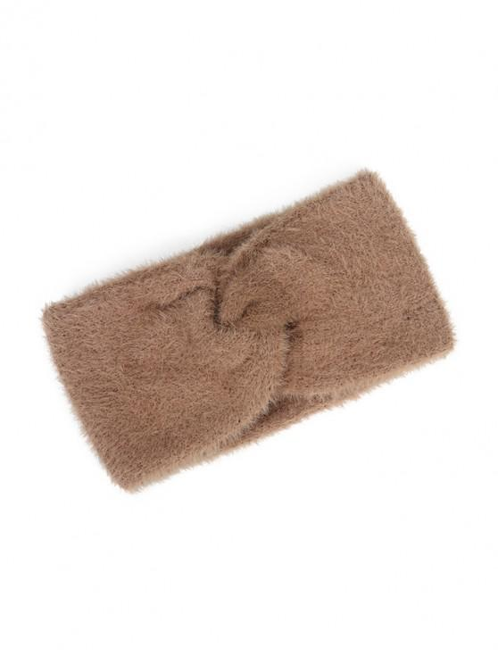 outfit Faux Fur Wide Elastic Headband - CAMEL BROWN