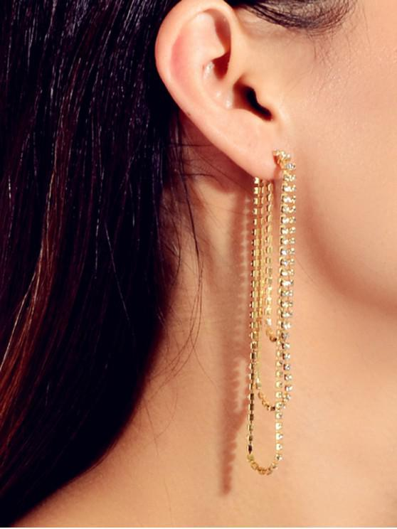 shop Rhinestone Three Layered Earrings - GOLD