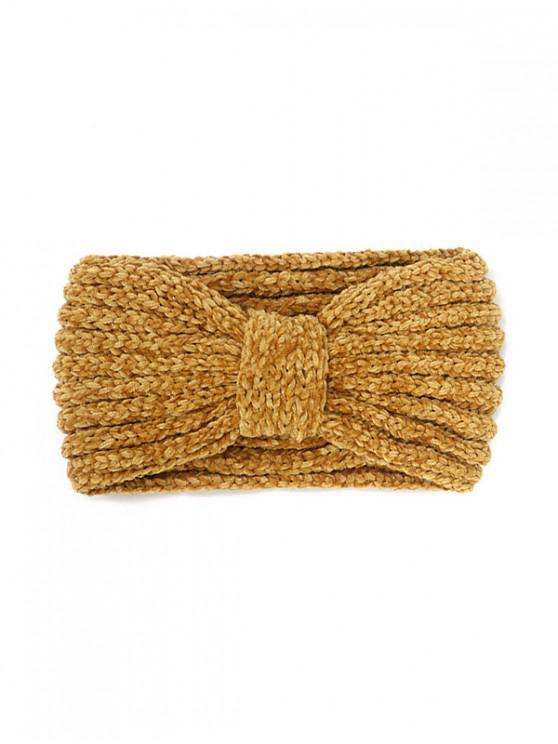 trendy Knitted Bowknot Wide Headband - SAFFRON
