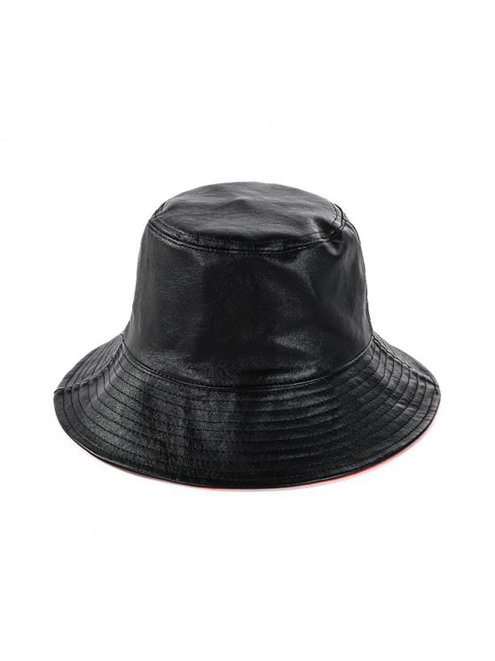fashion Double Faced Solid Floppy Hat - BLACK