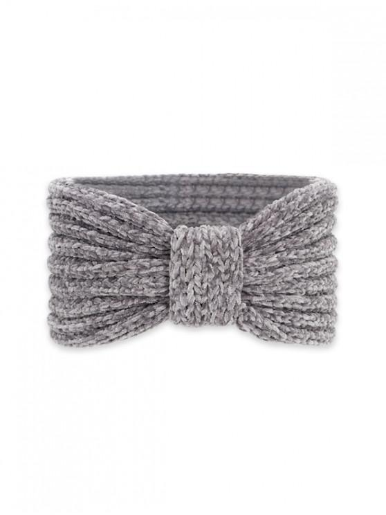 chic Knitted Bowknot Wide Headband - DARK GRAY