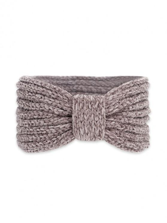 affordable Knitted Bowknot Wide Headband - PUCE