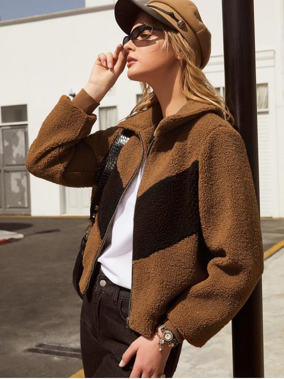 online ZAFUL Colorblock Zipper Teddy Coat - LIGHT BROWN S