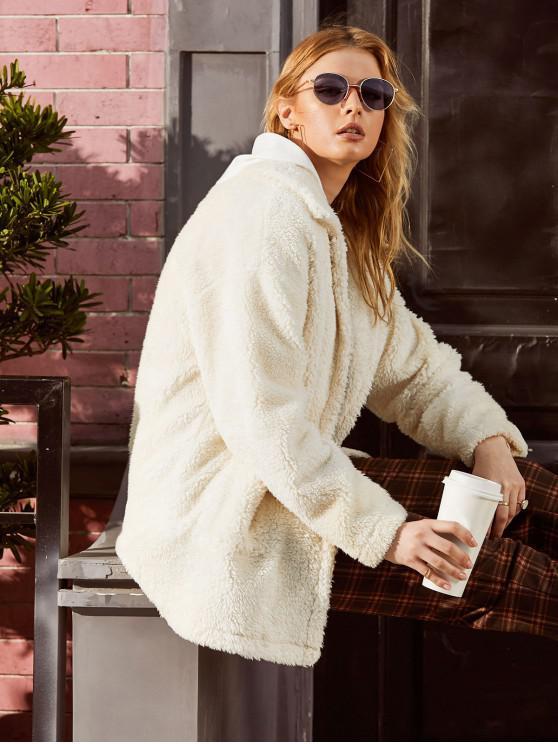 outfit ZAFUL Faux Shearling Pocket Drop Shoulder Fluffy Coat - CRYSTAL CREAM L
