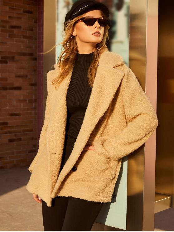 chic ZAFUL Pocket Double Breasted Fluffy Teddy Coat - APRICOT L
