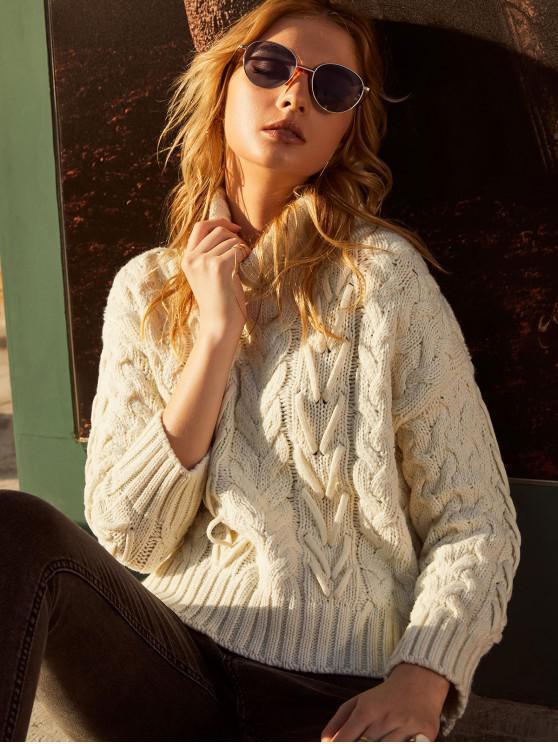 women's ZAFUL Slits Turtleneck Cable Knit Chunky Sweater - WARM WHITE L