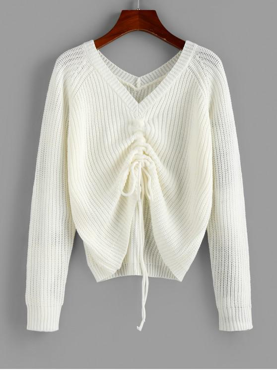 womens ZAFUL V Neck Shirred Ribbed High Low Sweater - MILK WHITE M