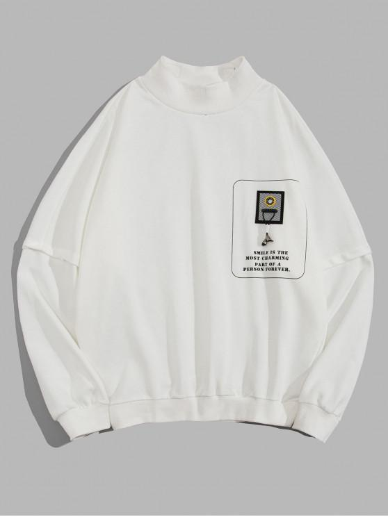 outfit Graphic Letter Printed Casual Sweatshirt - WHITE XL
