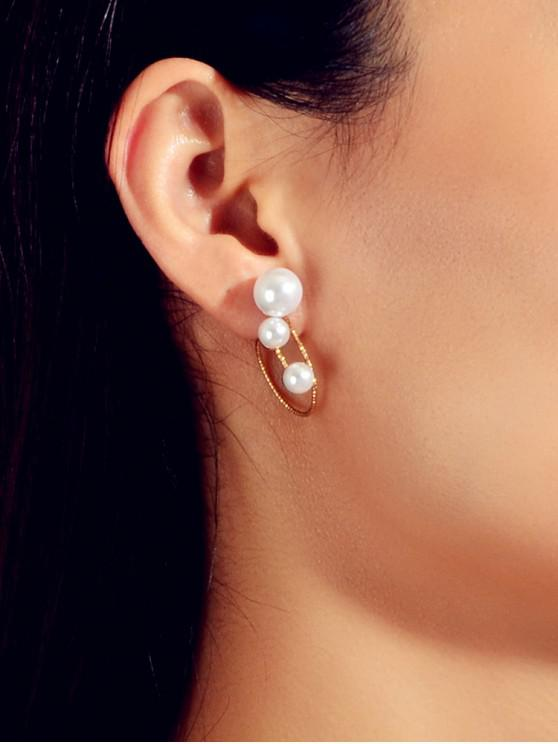 shops Pearl Geometric Stud Earrings - GOLD