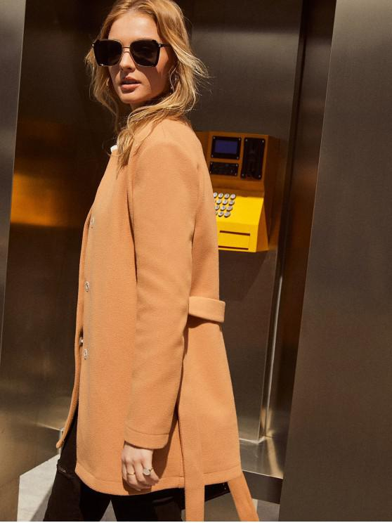online ZAFUL Wool Blend Stand-up Collar Belted Coat - LIGHT BROWN XL