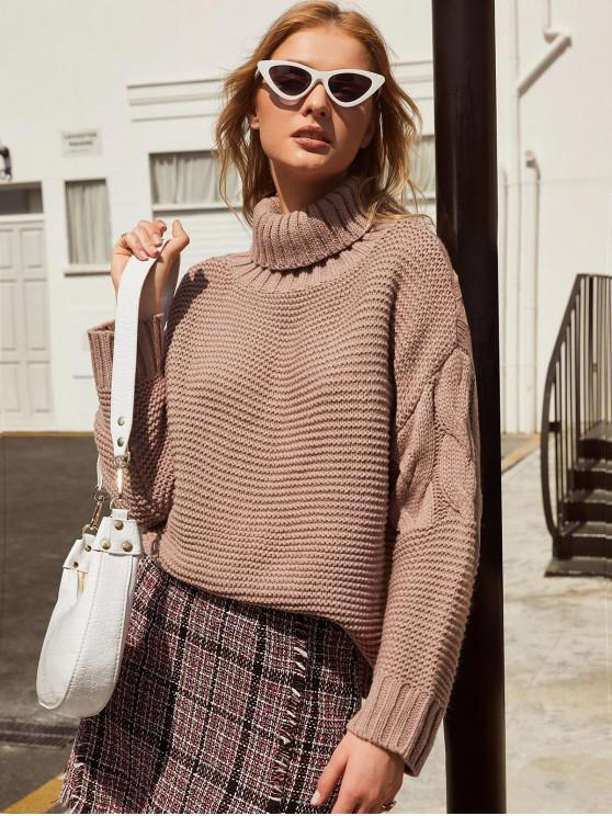 outfits ZAFUL Turtleneck Cable Knit Sweater - KHAKI ROSE L