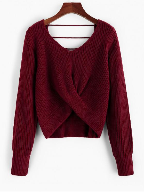 shops ZAFUL Twisted Open Back Ladder Cut Sweater - RED WINE L