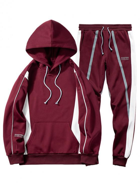 buy Splicing Two Piece Gym Outfits - RED WINE L