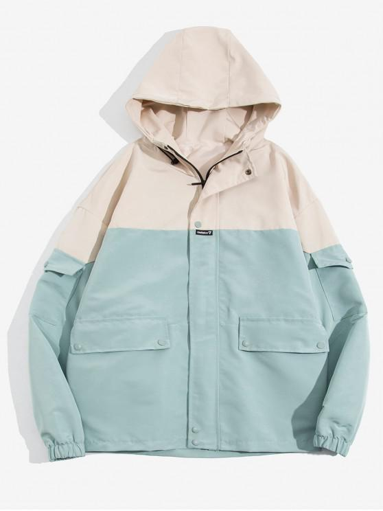 latest Letter Embroidered Color Spliced Hooded Jacket - GREEN S