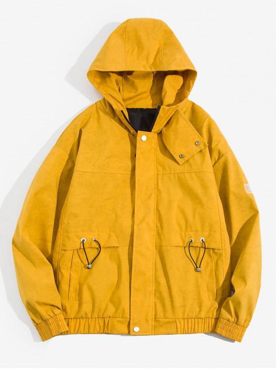 Taschenschmuck Buchstabe Muster Kapuze Jacke - Gelb 2XL
