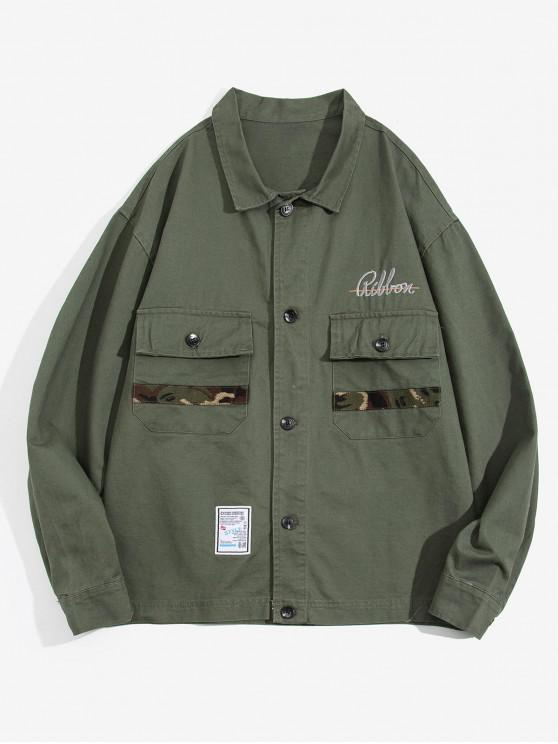 hot Letter Embroidery Pocket Decorated Button Jacket - DARK GREEN L