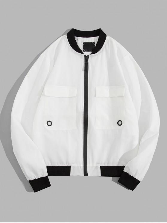 latest Contrast Trim Flap Pocket Zip Up Jacket - WHITE M