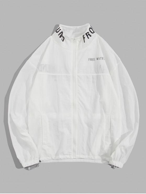 Leichte Buchstabe Graphikdruck Lässige Zip Up Jacke - Weiß 2XL