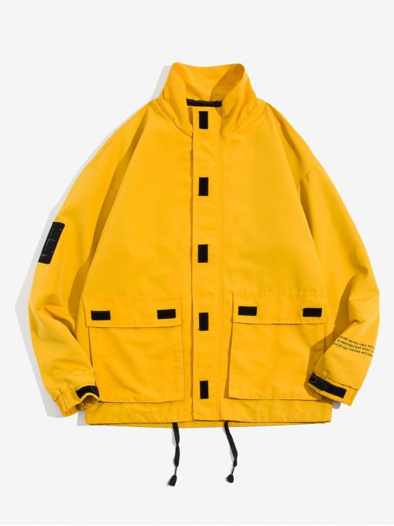 unique Letter Printed Pocket Design Zip Up Jacket - BEE YELLOW M