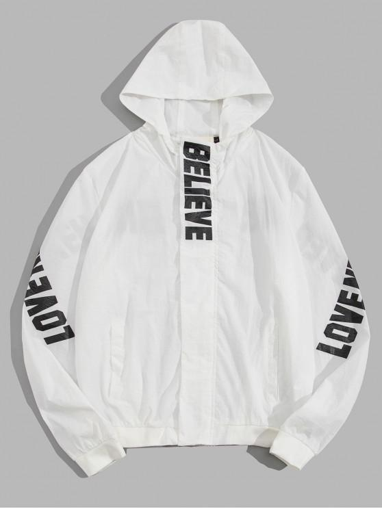 womens Believe Letter Print Lightweight Hooded Jacket - WHITE L