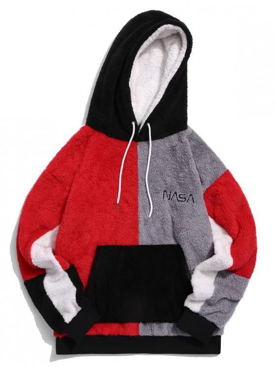best ZAFUL Color-blocking Front Pocket Faux Fur Hoodie - MULTI XL