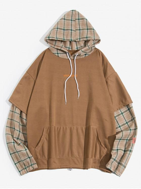 online Plaid Spliced Faux Twinset Kangaroo Pocket Casual Hoodie - KHAKI L