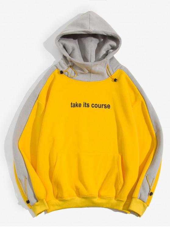 new Letter Printed Color Spliced Pocket Hoodie - YELLOW L