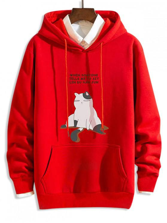 women Funny Cartoon Cat Letter Print Drawstring Hoodie - RED XL