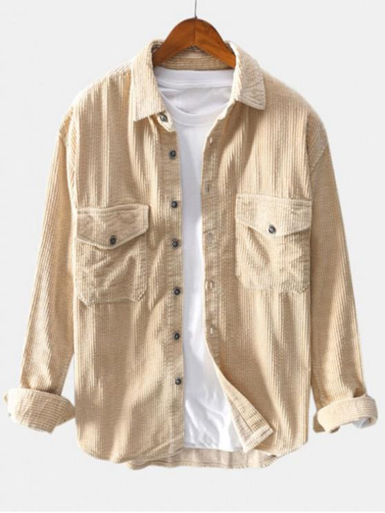 womens Solid Color Pocket Decoration Button Shirt - LIGHT KHAKI L
