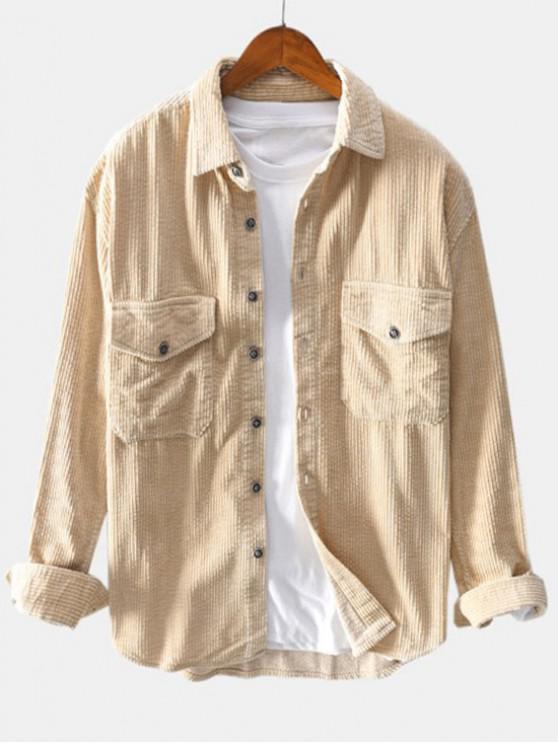 hot Solid Color Pocket Decoration Button Shirt - LIGHT KHAKI M
