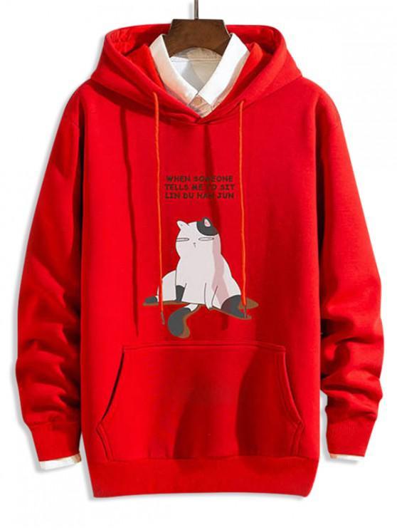 shop Funny Cartoon Cat Letter Print Drawstring Hoodie - RED 2XL