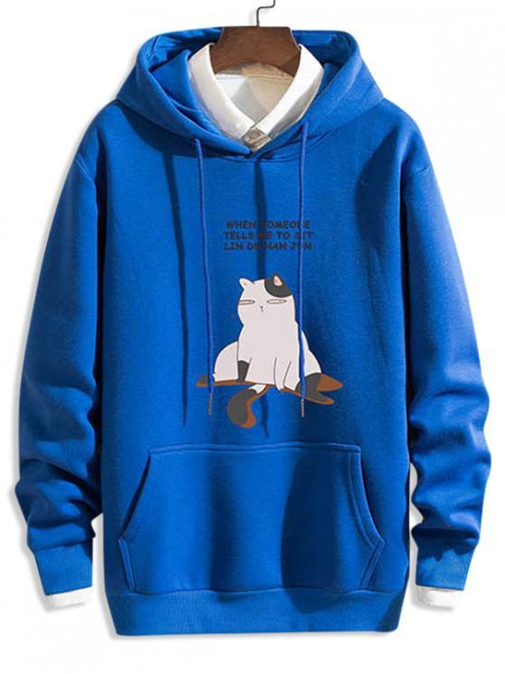 chic Funny Cartoon Cat Letter Print Drawstring Hoodie - BLUE 2XL
