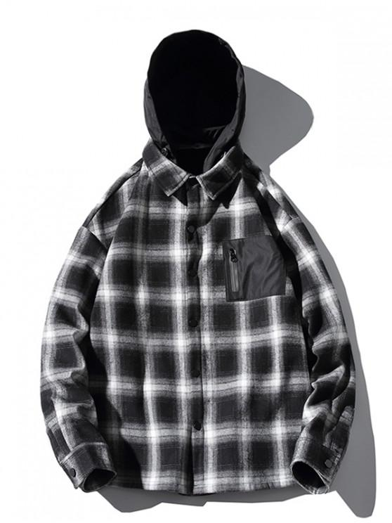 unique Contrast Checkered Print Fleece Asymmetric Hood Shirt - BLACK L