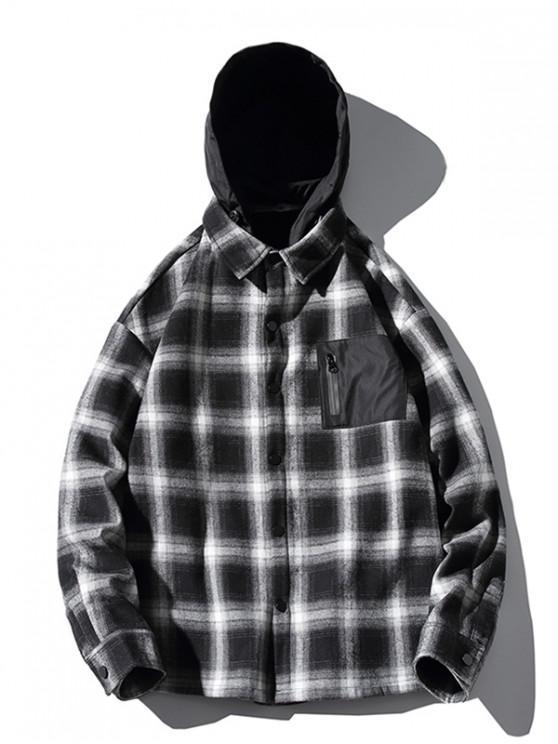 affordable Contrast Checkered Print Fleece Asymmetric Hood Shirt - BLACK M