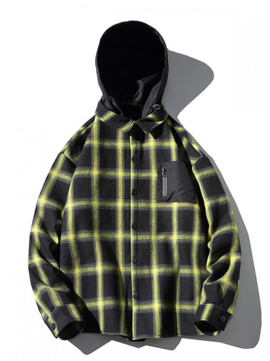 buy Contrast Checkered Print Fleece Asymmetric Hood Shirt - YELLOW M