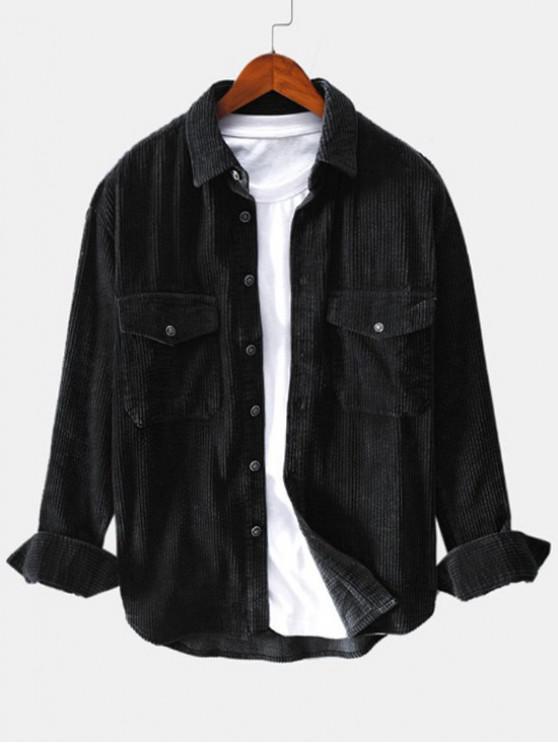 women's Solid Color Pocket Decoration Button Shirt - BLACK M
