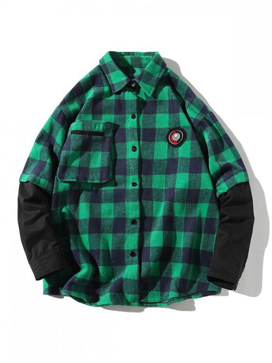 lady Plaid Faux Twinset Long Sleeve Shirt - GREEN 3XL