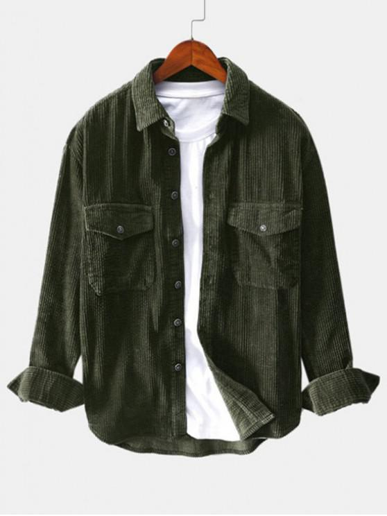 outfits Solid Color Pocket Decoration Button Shirt - ARMY GREEN XL