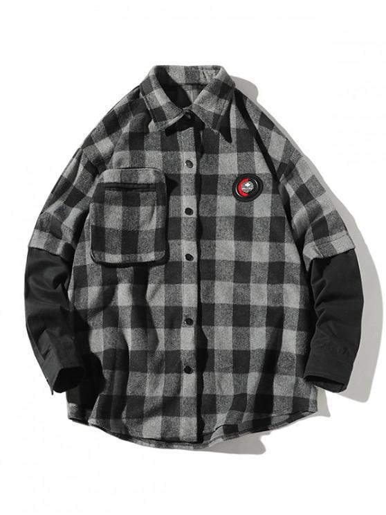 fancy Plaid Faux Twinset Long Sleeve Shirt - GRAY S