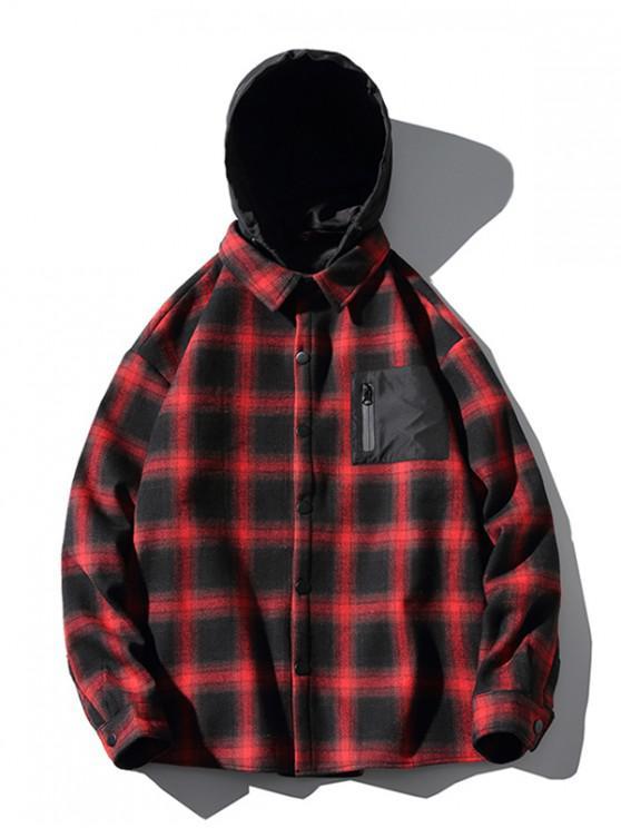 hot Contrast Checkered Print Fleece Asymmetric Hood Shirt - RED M