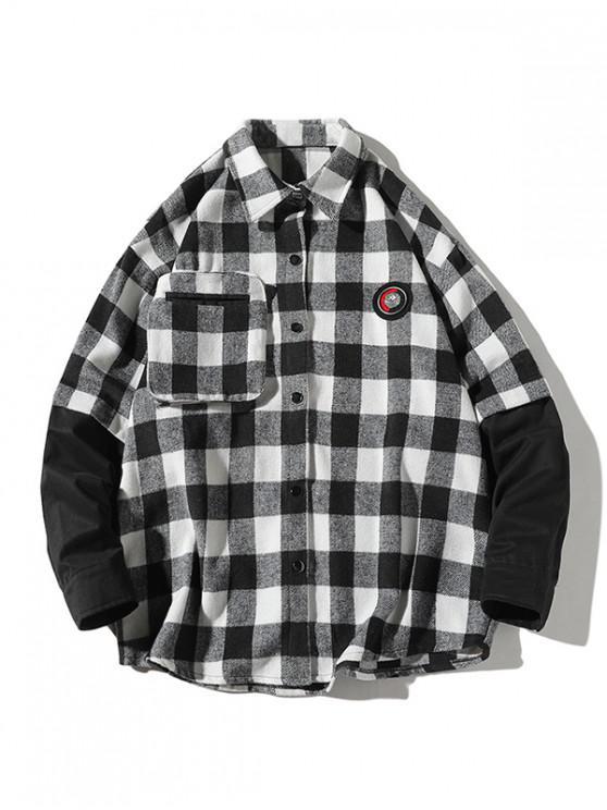 chic Plaid Faux Twinset Long Sleeve Shirt - WHITE 3XL